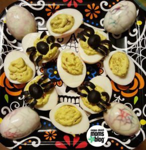 spooky spider dyed halloween eggs