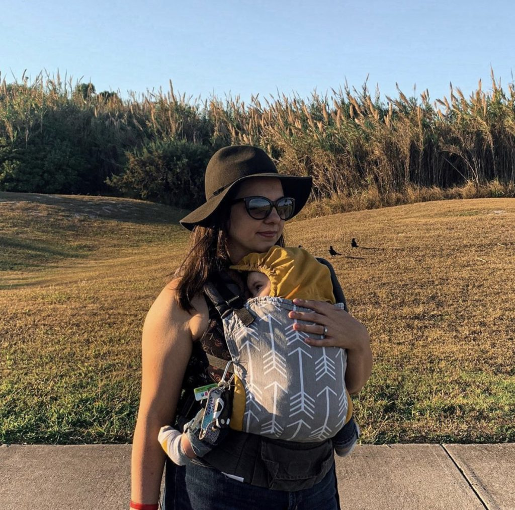 Jerin using Tula Baby Carrier