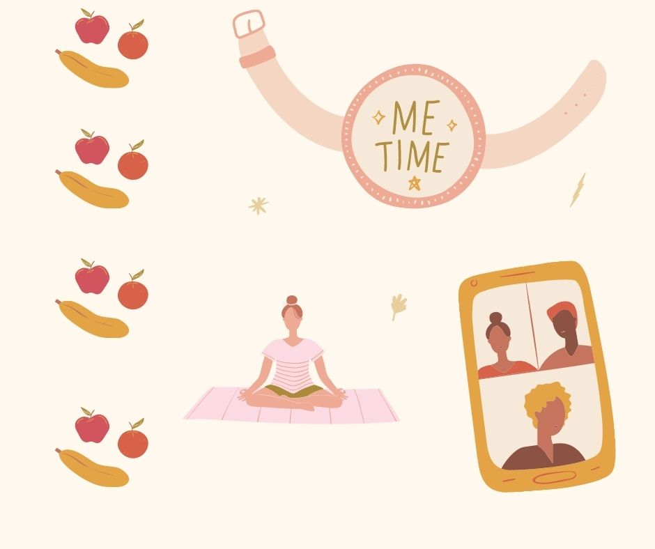 Self Care Essentials - Illustration of a woman doing yoga