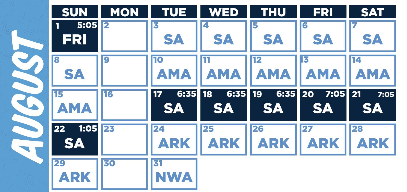 August Hooks Schedule