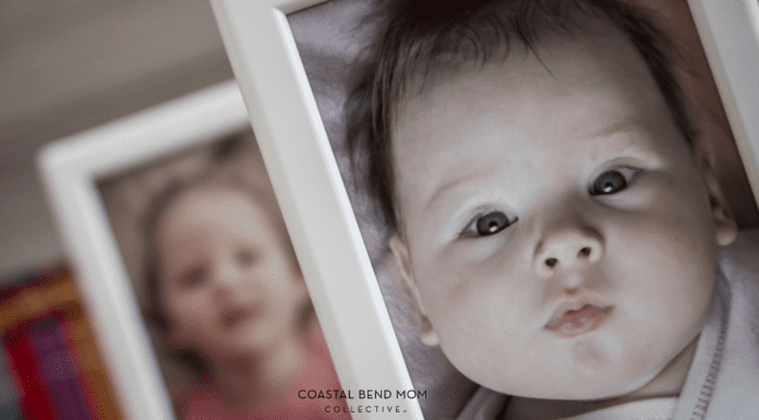 Image of a newborn baby in a white picture frame. Behind the first frame is a second white picture frame with a photo of a toddler. It is the same child, two years apart.