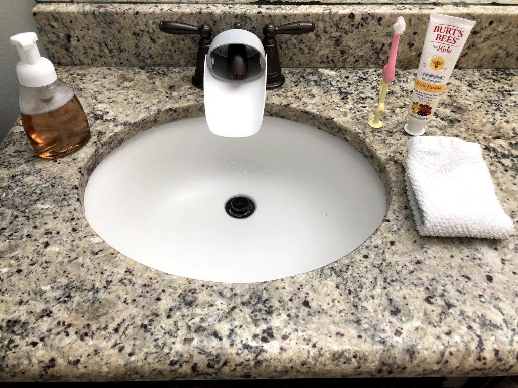sink in a toddler-friendly bathroom