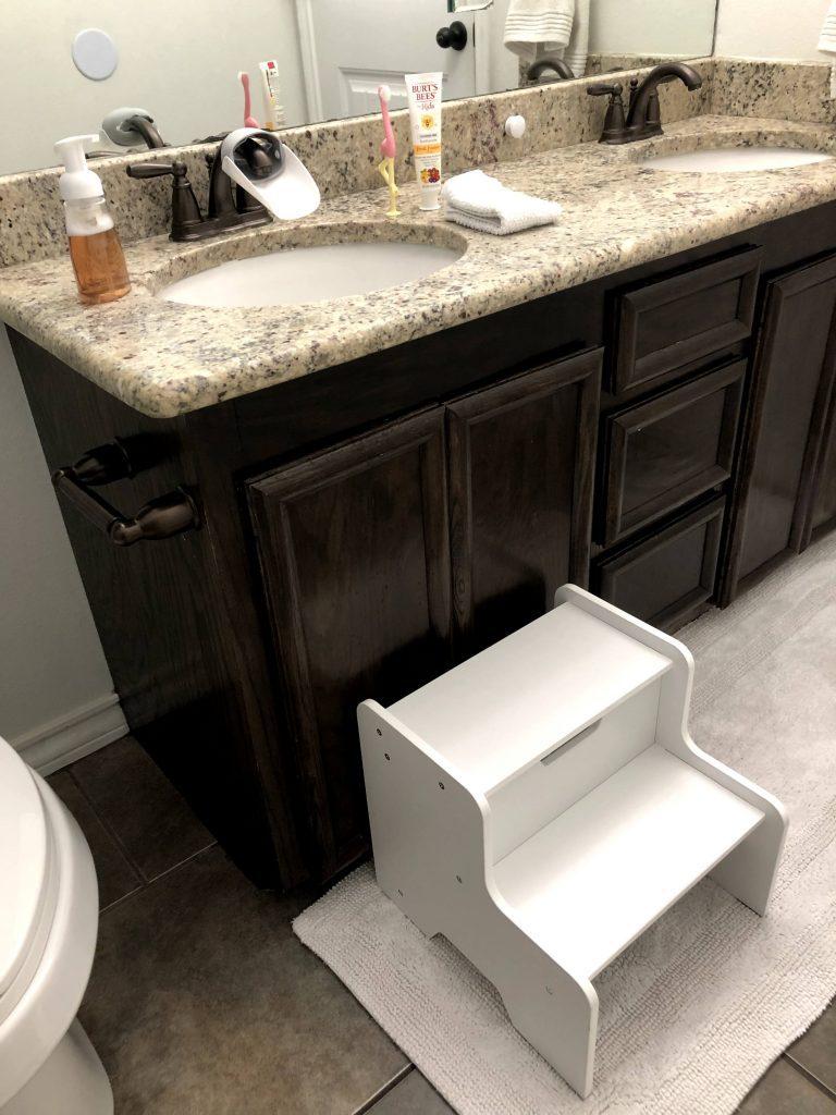 cupboards in a toddler-friendly bathroom