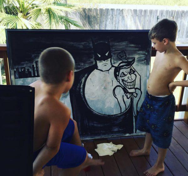 Batman painting and boys