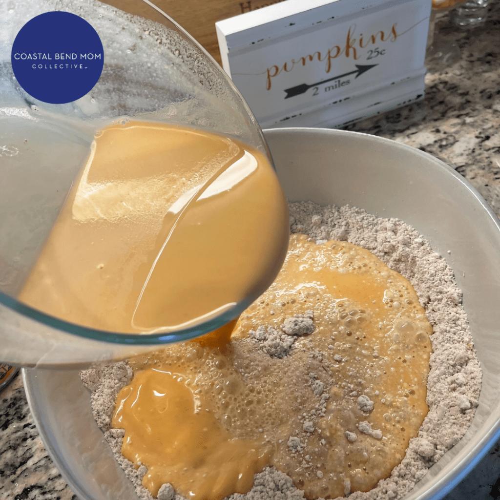 Wet Ingredients in a bowl : Pumpkin Pancakes